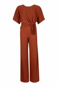 Womens Recycled Batwing Detail Top & Trouser Co-ord - brown - 8, Brown