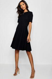 Womens Tall Short Sleeve Skater Dress - black - 8, Black