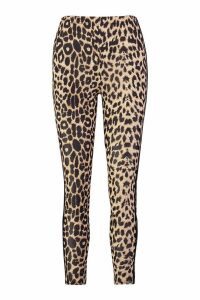 Womens Leopard Print Double Side Stripe Leggings - brown - 14, Brown