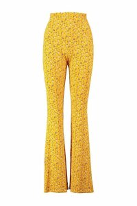 Womens Ditsy Floral Jersey Trousers - Yellow - 14, Yellow