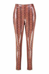 Womens Super Stretch Vinyl Snake Skinny Trousers - Beige - 14, Beige