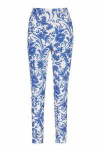 Womens Porcelain High Waist Skinny Trousers - Blue - 18, Blue