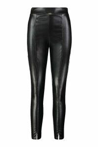 Womens Leather Look Split Front Leggings - Black - 12, Black