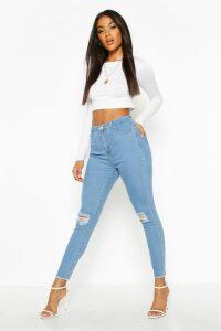 Womens Frayed Hem Distressed Skinny Jeans - Blue - 6, Blue