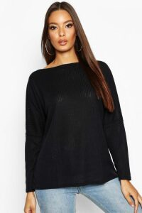 Womens Oversized Rib Top - Black - 10, Black