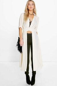 Womens Plunge Neck Split Maxi Shirt - white - 12, White