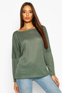 Womens Oversized Rib Top - green - 12, Green