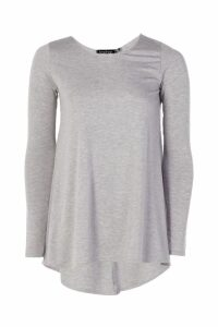 Womens Tall Long Sleeve Basic Swing Tee - Grey - 8, Grey