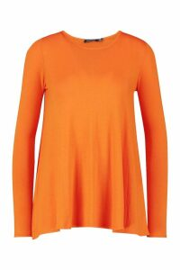 Womens Tall Long Sleeve Basic Swing Tee - orange - 6, Orange