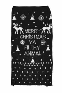 Womens Merry Xmas Ya Filthy Animal Dog Jumper - black - S, Black