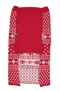 Womens Fairisle Christmas Dog Jumper - red - L, Red
