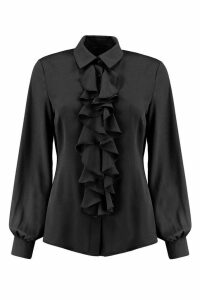 Womens Ruffle Detail Blouse - black - 8, Black