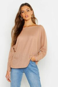 Womens Oversized Rib Top - Beige - 12, Beige