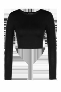 Womens Tall Long Sleeve Crop Top - black - 12, Black