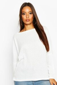 Womens Oversized Rib Top - white - 16, White