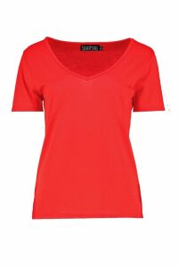 Womens Basic Super Soft V Neck T-Shirt - Red - 18, Red