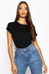 Womens Boxy Turn Cuff Basic T-Shirt - Black - 14, Black