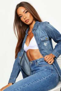 Womens Distressed Denim Shirt - blue - 8, Blue