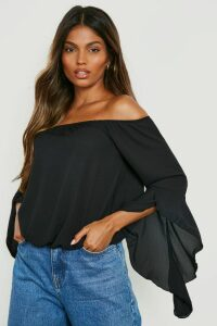 Womens Fluted Frill Sleeve Off The Shoulder Top - black - 16, Black