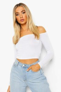 Womens Basic Long Sleeve Bardot Crop Top - white - 12, White