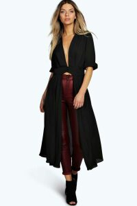 Womens Plunge Neck Split Maxi Shirt - black - 16, Black