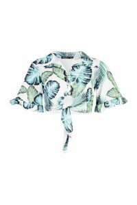 Womens Ruffle Sleeve Knot Front Shirt - white - 16, White