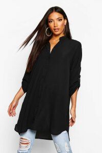 Womens Longline Oversized Sleeve Shirt - black - XL, Black