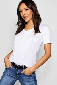 Womens Basic Super Soft V Neck T-Shirt - White - 16, White