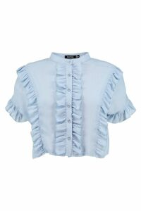 Womens Ruffle Short Sleeved Shirt - Blue - 8, Blue