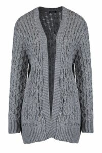 Womens Cable Cardigan With Pockets - grey - M/L, Grey