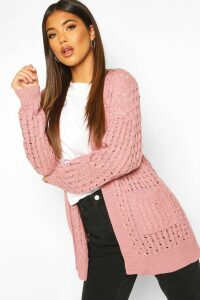 Womens Cable Cardigan With Pockets - Pink - S/M, Pink