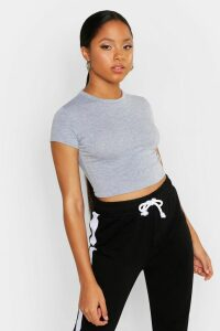 Womens Cropped Capped Sleeve T-Shirt - Grey - 16, Grey