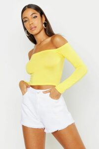 Womens Basic Long Sleeve Bardot Crop Top - yellow - 14, Yellow