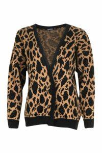 Womens Leopard Print Knitted Cardigan - beige - S, Beige