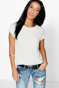 Womens Boxy Turn Cuff Basic T-Shirt - White - 14, White