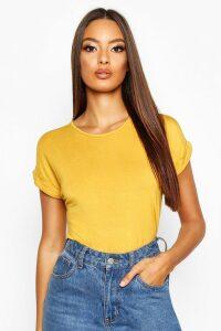 Womens Boxy Turn Cuff Basic T-Shirt - yellow - 6, Yellow