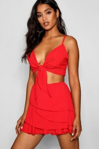 Womens Frill Skort Tie Top Co-ord Set - red - 12, Red