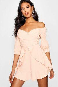 Womens Ruffle Detail Wrap Skater Dress - Pink - 16, Pink
