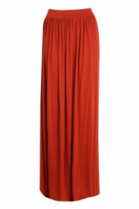 Womens Basic Floor Sweeping Jersey Maxi Skirt - orange - 8, Orange