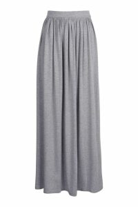 Womens Basic Floor Sweeping Jersey Maxi Skirt - grey - 14, Grey