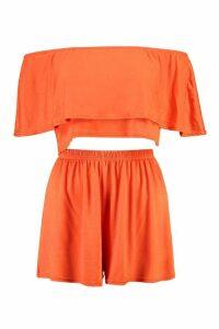 Womens Off The Shoulder Top + Short Co-ord - orange - 8, Orange