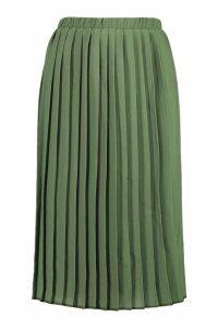 Womens Crepe Pleated Midi Skirt - Green - 8, Green