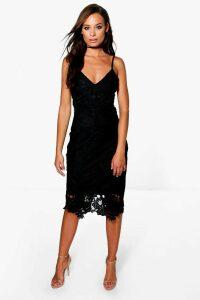 Womens Boutique Crochet Lace Strappy Midi Dress - Black - 16, Black