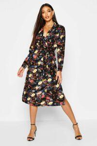 Womens Floral Printed Shirt Dress - Black - 16, Black