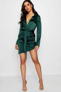 Womens Satin Wrap Detail Dress - Green - 14, Green