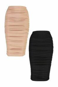 Womens 2 Pack Rouched Side Jersey Midi Skirt - Multi - 14, Multi