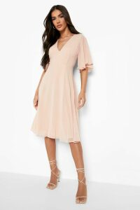 Womens Chiffon Angel Sleeve Midi Skater Bridesmaid Dress - Pink - 14, Pink