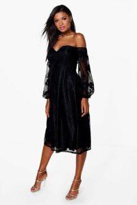 Womens Boutique Lace Bardot Midi Bridesmaid Dress - black - 16, Black