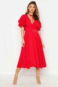 Womens Ruffle Angel Sleeve Bolo Tie Midi Dress - Red - 16, Red