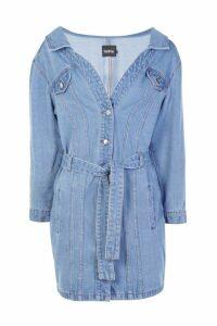 Womens Off The Shoulder Denim Shirt Dress - Blue - 8, Blue